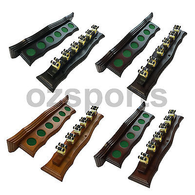 Wall Cue Rack with Brass Cue Clips for Pool Snooker Billiards Free Postage