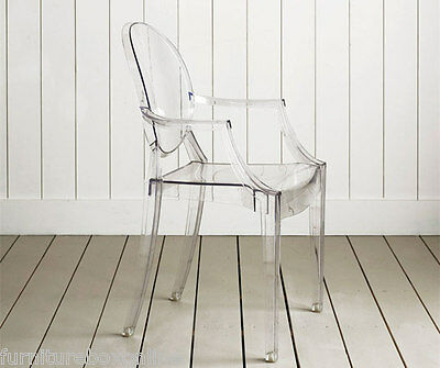 NEW Louis Ghost Armchair Transparent Clear Philippe Starck Style Dining Chair x4