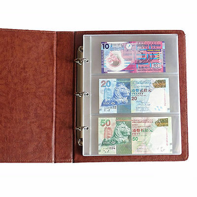 Album Pages 1 Sheet 3 Pockets Money Bill Note Currency Holder PVC Collection