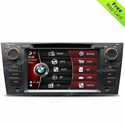 "In-Dash 7"" Car Stereo DVD Player Radio GPS BT USB SD RDS For BMW E90-E93 MAP O"