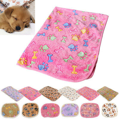 Soft Blanket Bed Cushion Cat Dog Puppy Pet Small Large Paw Print Coral cashmere