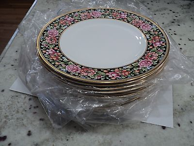 Wedgwood  Bone China  England Clio Gold Trim Floral Berries  12) Salad Plates