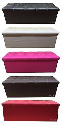Faux Leather Ottoman Storage Pouffe Toy Box Foot Stools 3 Seater Bench
