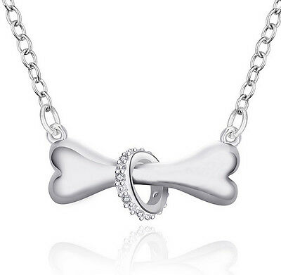 "Silver Pendant Necklace Trendy Dogbone 17 "" Chain + Jewellery Box"