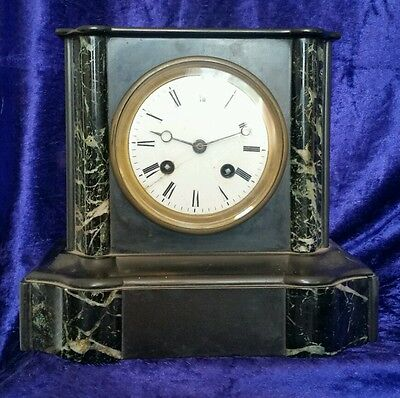 Antique Japy Freres chiming slate & marble French mantle clock high quality