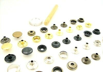 DIY Kit of Hand setting tools +  25  Ring spring press studs 15mm No 12-61/B80