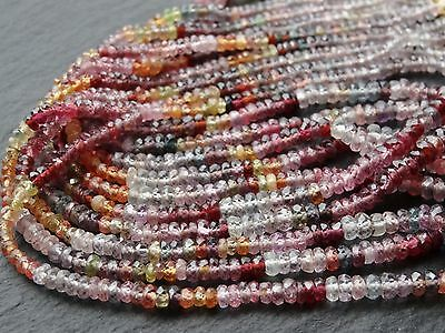 "**CLEARANCE**  5 STRINGS x MULTI SPINEL RONDELLES, 3.5mm - 4mm, 14"" - 16.5"""