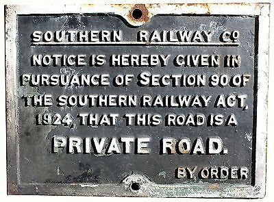 Cast Iron Southern Railway Private Road Sign (W)