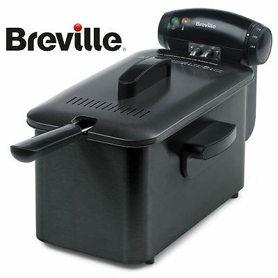 Breville Stainless Steel Home 3L Oil 1kg Crispy Food Deep Fat Fryer VDF112 Black