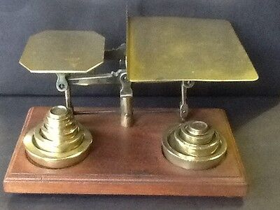 Brass Weight Scales with Original Weights and Wood Base