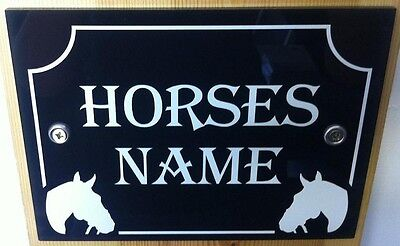 Horse Pony Stable name Plaque Plate Sign White /gold on black