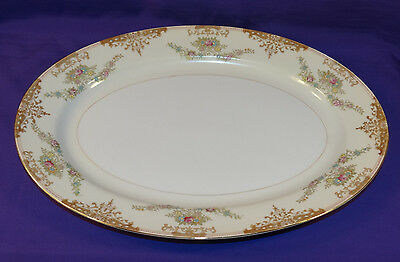 Beautiful Regal China Oval Serving Platter Reg14 Flowers Scrolls Gold Japan