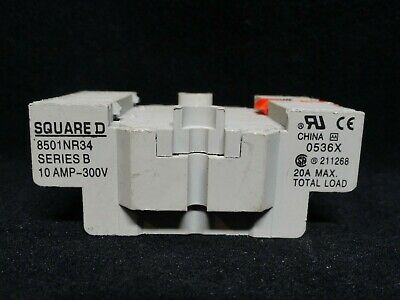 Square D * Relay Socket * Model 8501Nr34 * Series B * 10 Amp-300 Volts * Used