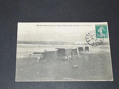 CPA 1911 AVIATION 7e CORPS D'ARMEE GRANDES MANOEUVRES AEROPLANES SUR LE TERRAIN