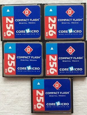 CoreMicro 256MB Compact Flash Card ~ 5 Pack ~ No Packaging