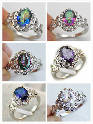 18K White Gold Filled- MYSTICAL Topaz Butterfly Amethyst Prom Ring SZ 6/7/8/9/10