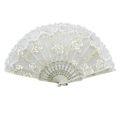 Froomer Lace Folding Hand Held Fans Tulle Summer Wedding Birthday Party White