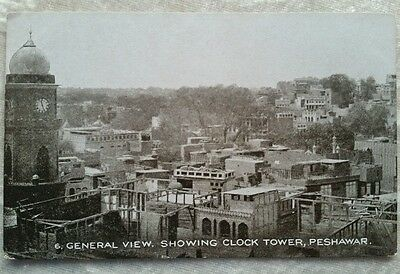 Vintage India postcard 6. General view showing clock tower Peshawar Sepiatone
