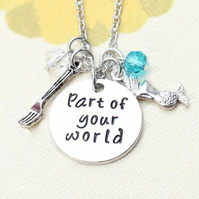 Antique silver Ariel little mermaid charm necklace inspired part of your world 7