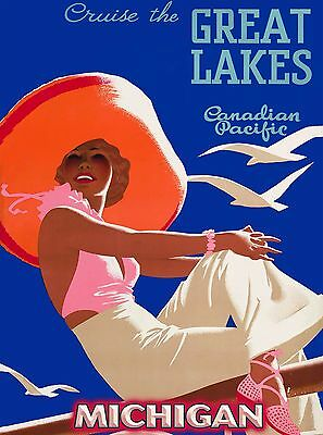 Cruise the Great Lakes Michigan United States Travel Advertisement Poster