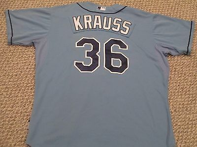 Marc Krauss size 50 #36  2015 Tampa Bay Rays Game Used jersey Columbia Blue MLB