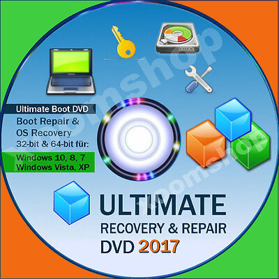 █ Recovery & Repair Reparatur CD DVD für Windows 10 + 8 +7 + Vista +XP 2016 2017
