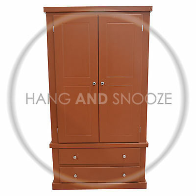 Handmade Dewsbury 2 Drawer  Wardrobe Brown, Chrome Handles (Assembled)