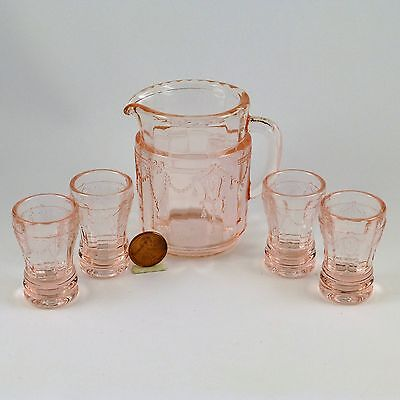Mosser Glass Jennifer Miniature Pitcher & 4 Tumblers Child Play Doll Dishes Pink