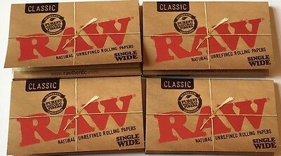 4 Packs Of Authentic Raw Rolling Paper Classic Single Wide Natural Unrefined