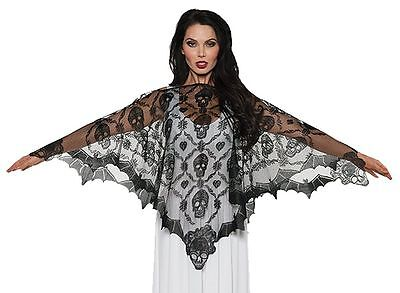 Black Bats & Skulls Vampire Sheer Lace Poncho Cape Gothic Adult Women's Costume