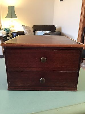 Antique small mahogany collector's chest of drawers cabinet