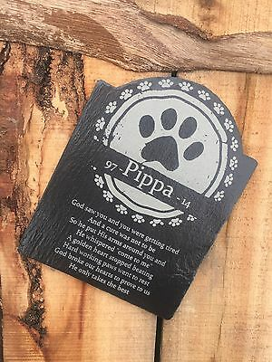 Personalised Engraved Dog Cat Memorial Grave Maker Headstone Plaque