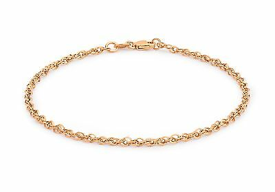 """Solid 9ct Rose Gold 40 Diamond Cut Prince Of Wales Chain Bracelet 18cm/7"""" Gift"""