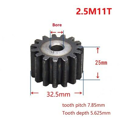 Motor Spur Pinion Gear 2.5Mod 11T 45# Steel Outer Dia 32.5mm Thickness 25mm x1Pc
