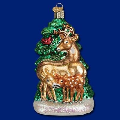 """Deer Family"" (12406) Old World Christmas Glass Ornament - Free Gift Box!"