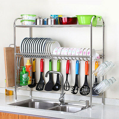 Brand New Two Layer Double Groove Stainless Steel Kitchen Tableware Rack
