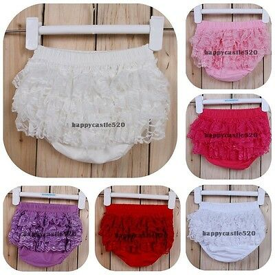 Baby Girl Kids Newborn Clothes Ruffle Lace Pants Shorts Bloomers Diaper Cover