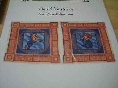 Sea Creatures- Sea Horse & Mermaid Canvaswork Needlepoint Pattern -Laura J Perin