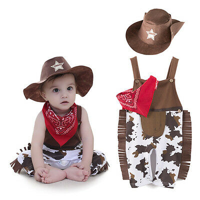 3pcs Baby Girl Boy Kids Children Cowboy Hat+Bib+Pants Outfit Set Suit Clothes