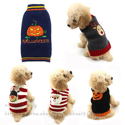 Halloween Dog Clothes Christmas Pet Sweater Knitwear Puppy Clothing Apparel Coat