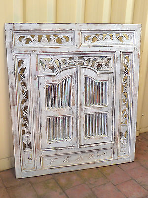 LARGE~Solid~Wood~Timber~Shabby~French~Country~White~Prison~Wall~Mirror