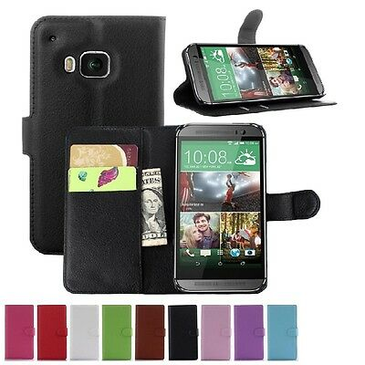 Wallet Leather Flip Card Case Pouch Cover For HTC One M9 Genuine AuSeller
