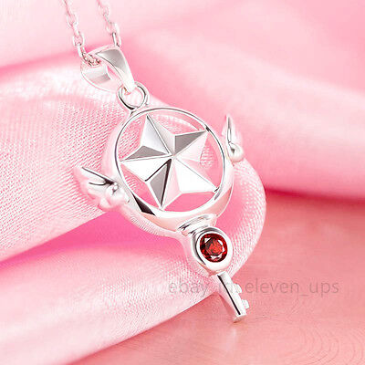 Silver Necklace Card Captor Sakura Kinomoto Star Wand Key Pendant Cosplay Zircon