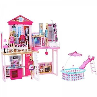 Barbie House With Pool Includes 3 Dolls