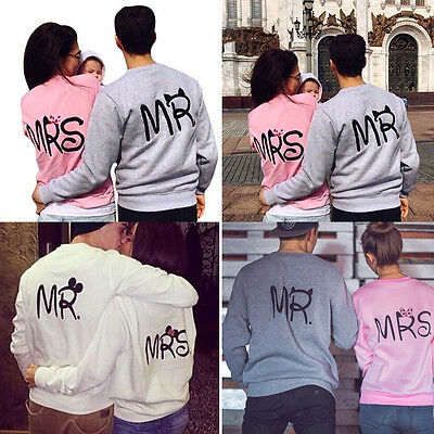 Couple MR MRS Femmes Hommes Pull Capuche Sweat Pull-over Manches Longues Manteau