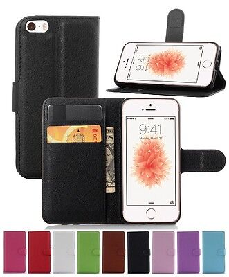 Wallet Leather Flip Case Pouch Cover For Apple iPhone 5 5S SE Genuine AuSeller