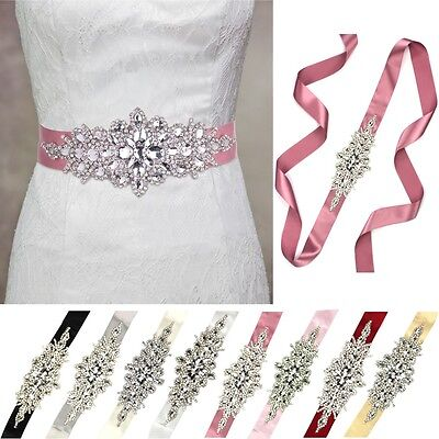 Vintage Crystal White/Ivory Bridal Wedding Dress Rhinestone Sash Belt Six Colour