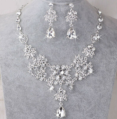 Wedding Prom Bride Crystal Diamond Necklace Earrings Set Jewelry  Accessory UK