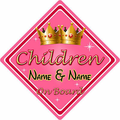 Personalised Child/Baby On Board Car Sign ~ Children On Board ~ Pink