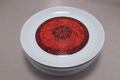 Block China FLAMENCO Red Salad Plates - Set of Six
